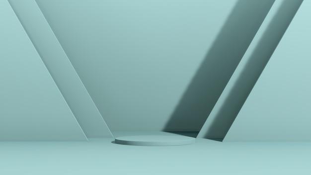 Renderowania obrazu 3d niebieskie podium z reklamą wyświetlania produktu na niebieskim tle