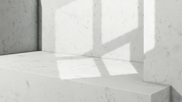 Renderowania obrazu 3d pusta przestrzeń ze światłem okna i białym marmurowym tłem wyświetlacza produktu