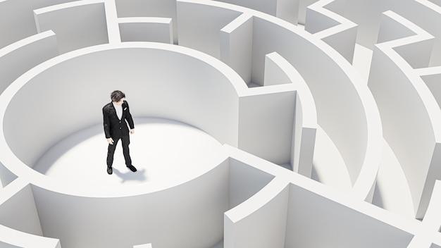 Renderowanie 3d. 3d biznesmen stojący przed labiryntem