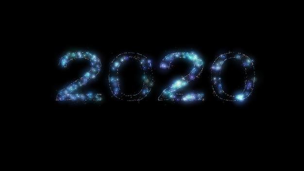 Renderowanie 3d 3d niebieski 2020 promień światła tła, na wesołych świąt i szczęśliwego nowego roku.