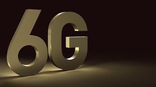 Renderowanie 3d 6g złota powierzchnia tekstu blask na ciemnym obrazie dla treści technologii mobilnych.