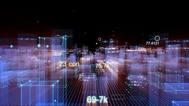 Renderowanie 3d abstrakcyjne technologiczne cyfrowe miasto z danych w cyberprzestrzeni