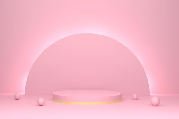 Renderowanie 3d abstrakcyjne tło sceny podium cylindryczne na różowym świetle prezentacja produktu