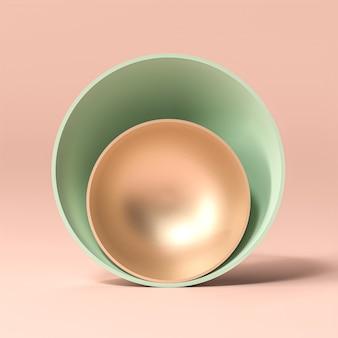 Renderowanie 3d abstrakcyjne tło złotych i zielonych misek na różowym tle