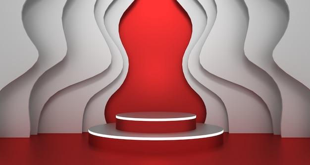 Renderowanie 3d abstrakcyjnego kształtu geometrycznego w kolorze czerwonym i białym, nowoczesny minimalistyczny wyświetlacz na podium