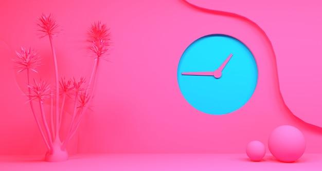 Renderowanie 3d abstrakcyjnego kształtu geometrycznego w kolorze różowego i turkusowego koloru niebieskiego