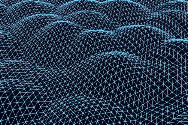 Renderowanie 3d abstrakcyjnego tła cyfrowego krajobrazu z kropkami cząstek