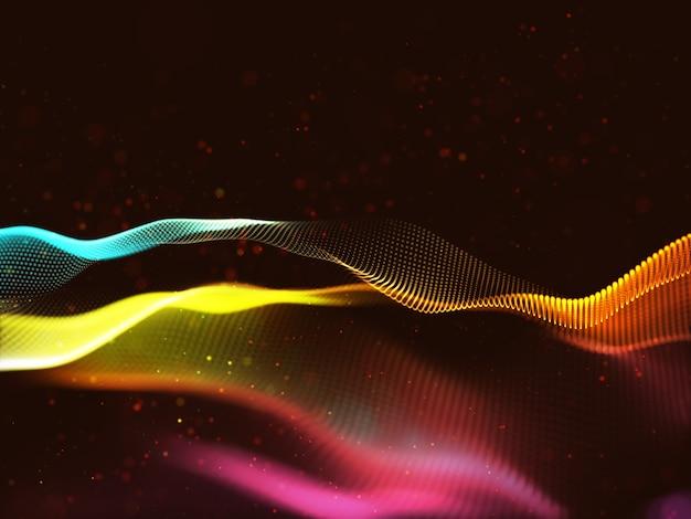 Renderowanie 3d abstrakcyjnego tła techno z kolorowymi cząsteczkami tęczy