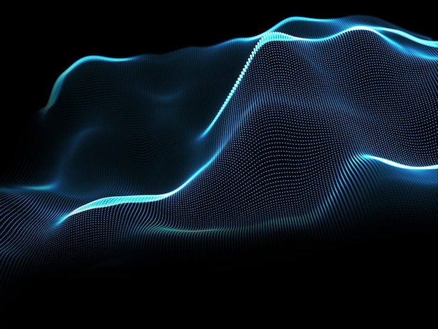 Renderowanie 3d abstrakcyjnego tła ze świecącymi cząsteczkami