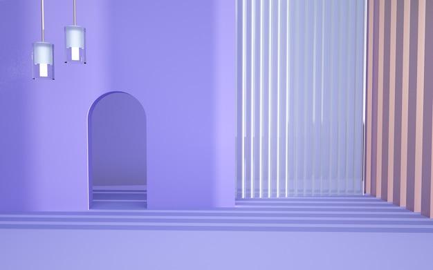 Renderowanie 3d abstrakcyjnej geometrycznej fioletowej sceny z pasiastymi ścianami do makiety wyświetlacza