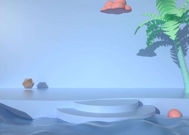 Renderowanie 3d abstrakcyjnej platformy z dekoracją roślin do wyświetlania produktów