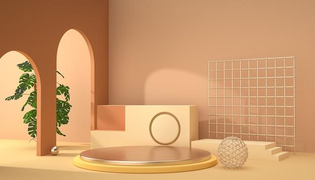 Renderowanie 3d abstrakcyjnej sceny tła do wyświetlania produktu