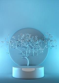 Renderowanie 3d abstrakcyjnej sceny z wyświetlaczem podium i drzewem dla minimalnej makiety. niebieska grafika pastelowa.