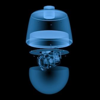 Renderowanie 3d aparat bezpieczeństwa x ray lub kamera cctv na czarnym tle