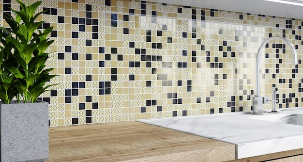 Renderowanie 3d. backsplash mozaiki w kuchni. wzór w czarne kwadraty.