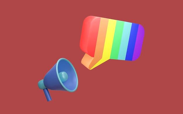 Renderowanie 3d bańki mowy megafonu w tęczowym kolorze lgbtq na tle