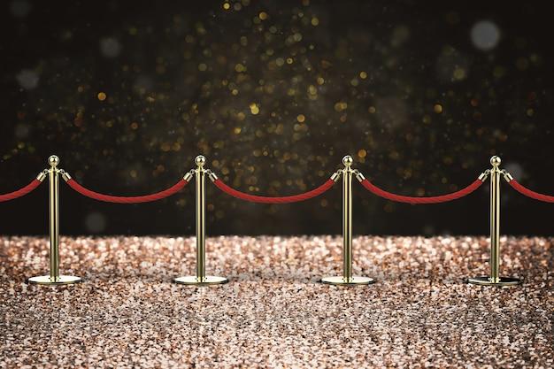 Renderowanie 3d bariery z czerwonej liny ze złotym filarem