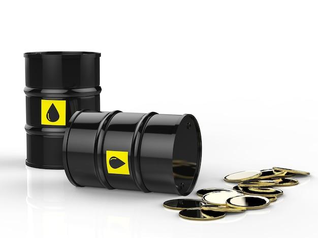 Renderowanie 3d beczek ropy naftowej ze złotymi monetami