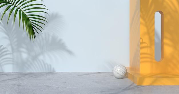 Renderowanie 3d betonowej podłogi i palm.