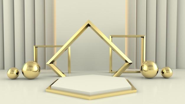 Renderowanie 3d biała geometria podium ze złotymi elementami. streszczenie geometryczny kształt puste podium.