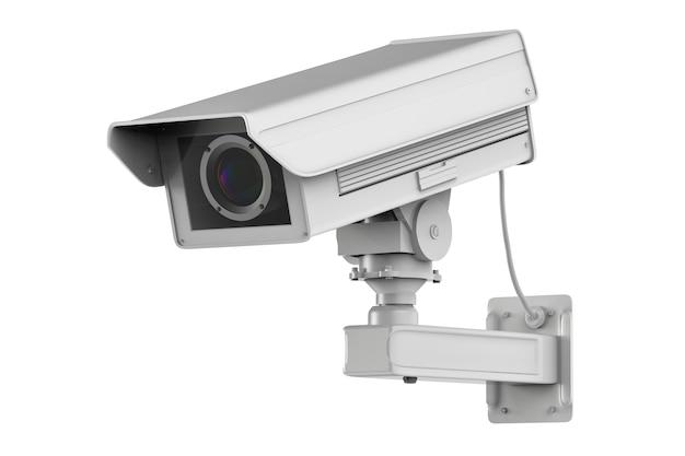 Renderowanie 3d biała kamera cctv lub kamera bezpieczeństwa na białym tle