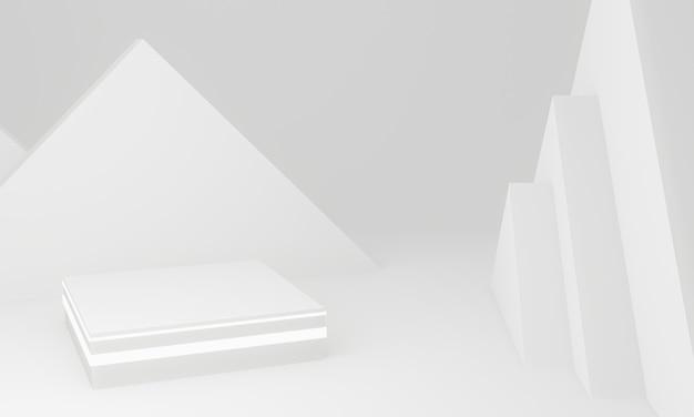 Renderowanie 3d. biała scena geometryczna.