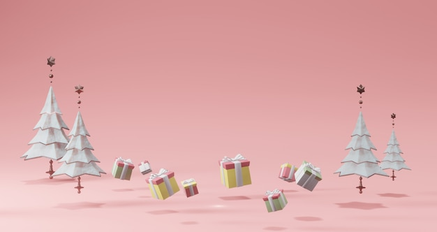 Renderowanie 3d. białe drzewa i pudełka na prezenty. streszczenie minimalna koncepcja