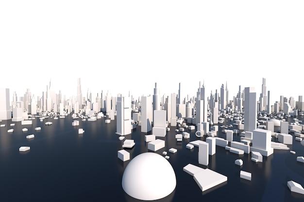 Renderowanie 3d białe miasto, pejzaż z budynku domu i ulicy