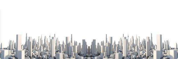 Renderowanie 3d białe miasto