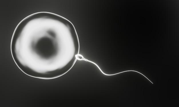 Renderowanie 3d. białe mikroskopijne plemniki i komórki jajowe.