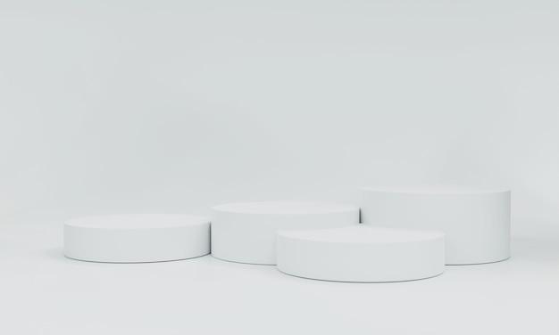 Renderowanie 3d, białe produkty sceniczne białe tło może być używane jako tło do projektowania banerów kosmetycznych lub dowolnych produktów