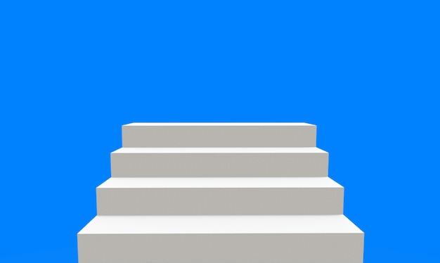 Renderowanie 3d. białe schody do pustego jasnego tła błękitnego nieba.