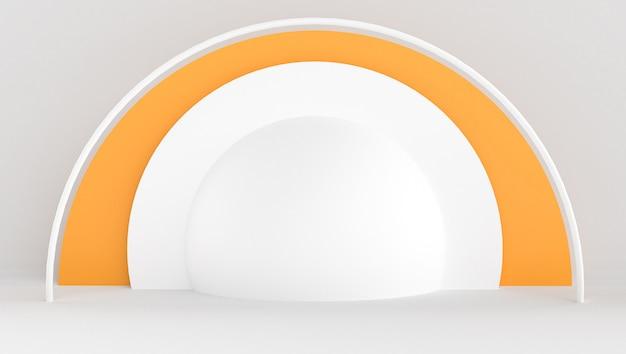 Renderowanie 3d białego i pomarańczowego koloru z minimalnym i abstrakcyjnym tle. scena z kształtem i geometrią.
