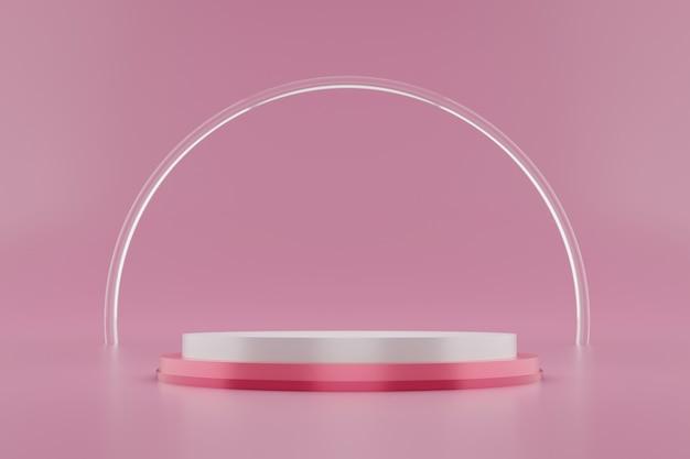 Renderowanie 3d białego i różowego podium