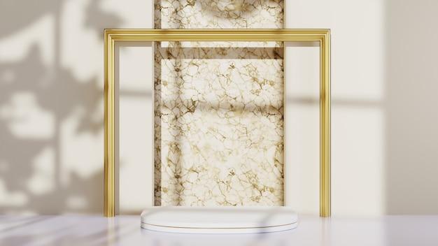 Renderowanie 3d białego podium do wyświetlania produktów ozdobionych złotą ramą i cieniem z tła okna. makieta produktu pokazowego.