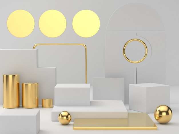Renderowanie 3d białego podium z cokołu na jasnym tle, abstrakcyjne minimalne puste miejsce na podium dla produktu kosmetycznego,