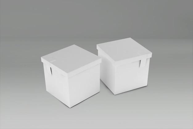 Renderowanie 3d białego prostokątnego pudełka z zamkniętą pokrywką na szaro