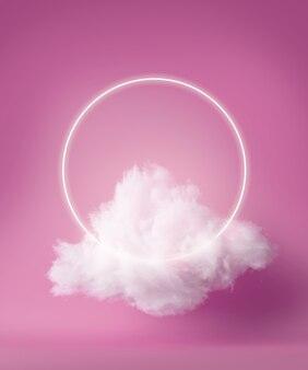 Renderowanie 3d, biały neonowy pierścień nad puszystą chmurą lewitującą wewnątrz studia. świecąca aureola.