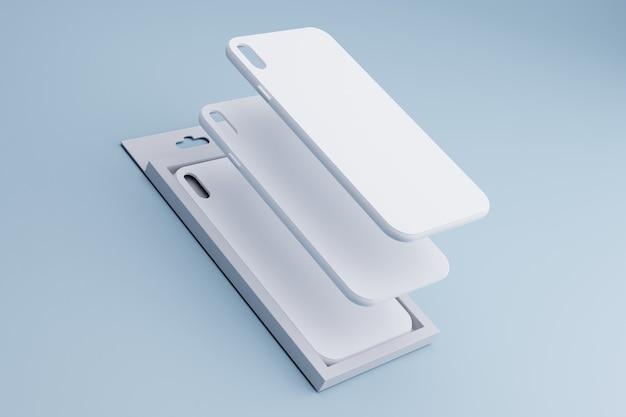 Renderowanie 3d białych etui na telefony