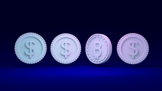 Renderowanie 3d bitcoin wyróżniający się od koncepcji monety dolara zdecentralizowanych i tradycyjnych finansów