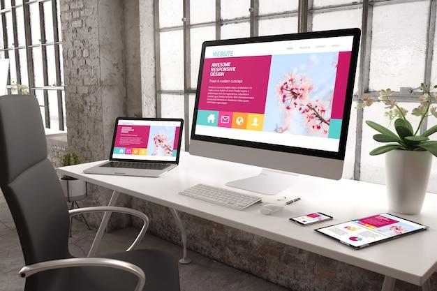 Renderowanie 3d biura przemysłowego z urządzeniami pokazującymi responsywny projekt strony internetowej