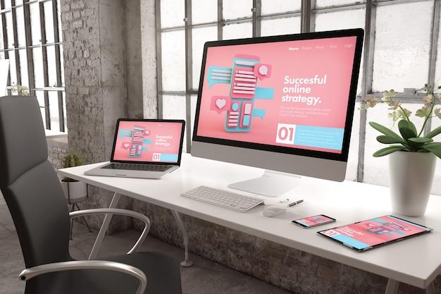 Renderowanie 3d biura przemysłowego z urządzeniami pokazującymi witrynę internetową marketingu online