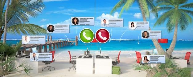 Renderowanie 3d biura zainstalowanego na tropikalnej plaży i wideokonferencji