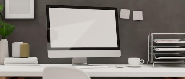 Renderowanie 3d biurko loft home office z komputerowymi materiałami biurowymi i dekoracjami na białym biurku ilustracja 3d
