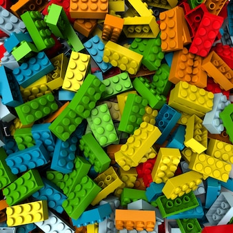 Renderowanie 3d bloków konstrukcyjnych w różnych odcieniach jasnych kolorów