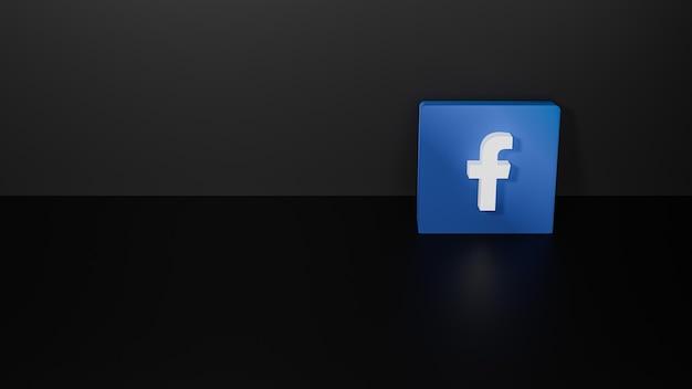 Renderowanie 3d błyszczącego logo facebook z ciemnym realistycznym wyglądem