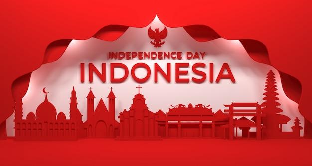 Renderowanie 3d budowania miasta i właściwego kultu wspólnot religijnych w indonezji.