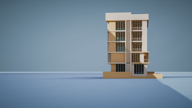 Renderowanie 3d budynku handlowego z niebieskim tłem