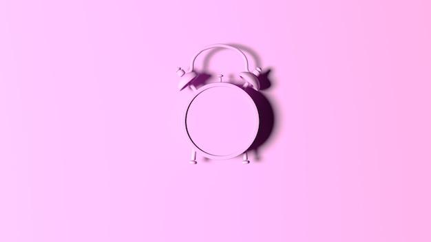 Renderowanie 3d. budzik na różowo