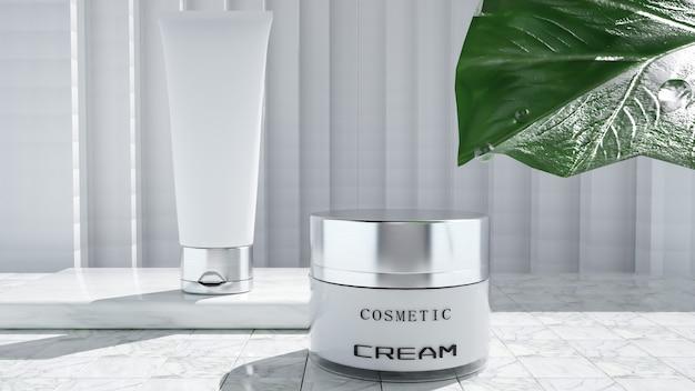 Renderowanie 3d butelek z kremem kosmetycznym do wyświetlania produktów